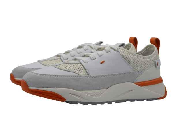 Santoni Sneaker mit gelochtem Leder creme-weiß orange