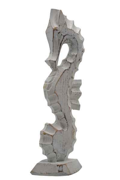 Seepferdchen Figur aus Holz klein weiß