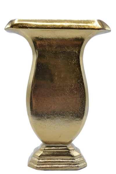 Vase Flach aus Metall gold