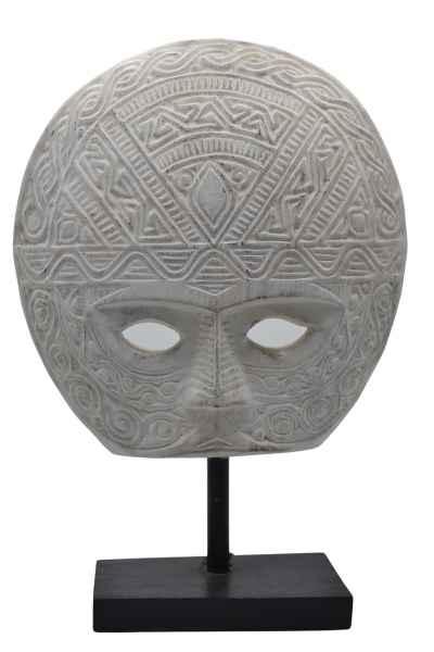 Maske aus Holz schwarz weiß